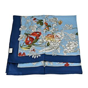 Gucci 494602 Blue Silk Wondergarden Scarf